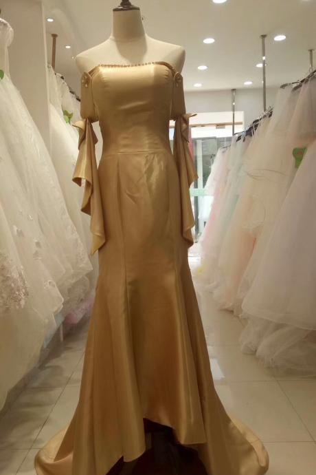 Champagne Mermaid Off Shoulder Elegant Wedding Party Dress, Champagne Long Prom Dress