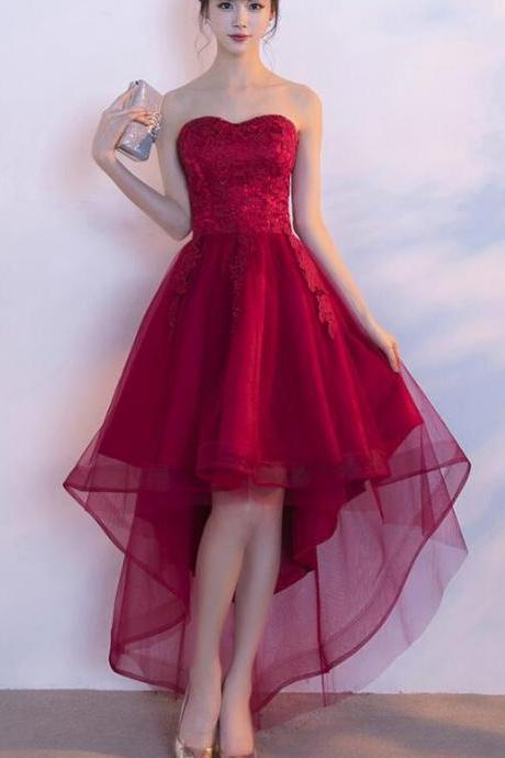 Tulle Sweetheart High Low Lace Formal Dress, Wine Red Homecoming Dress 2019, Lace-up Party Dress