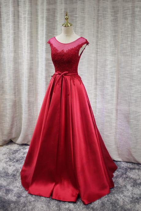 Red Satin Long Prom Dress, Round Neckline Charming Prom Gowns, Junior Prom Dress 2019
