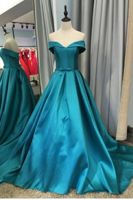 Off Shoulder Satin Long Ball Gown Party Dress 2019, Charming Handmade Formal Dress