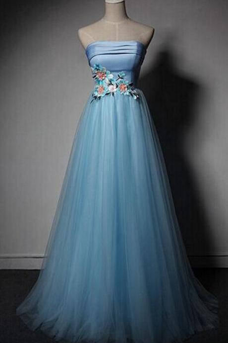 Blue Tulle Long Prom Dress, Junior Prom Dress 2019, Blue Prom Dress