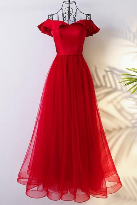 Red Satin and Tulle Elegant Formal Gown, Red Party Dress 2019, Charming Formal Dress