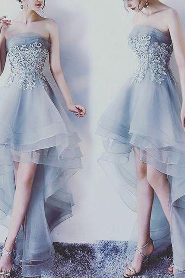 Grey Lace and Tulle High Low Formal Dresses, Lovely Party Dress, Handmade Party Dresses
