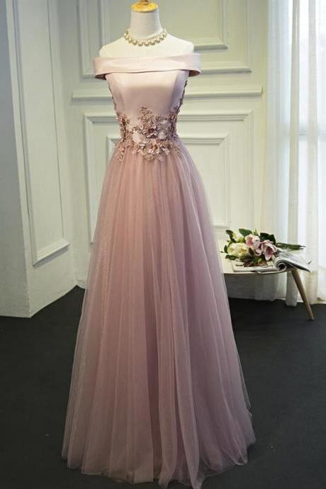 Pink Tulle A-line Bridesmaid Dresses, Off Shoulder Long Formal Gown