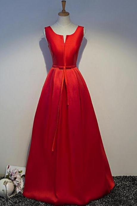 Red Simple Satin Floor Length Lace-up Party Dress, Prom Dresses 2019, Cute Party Dress