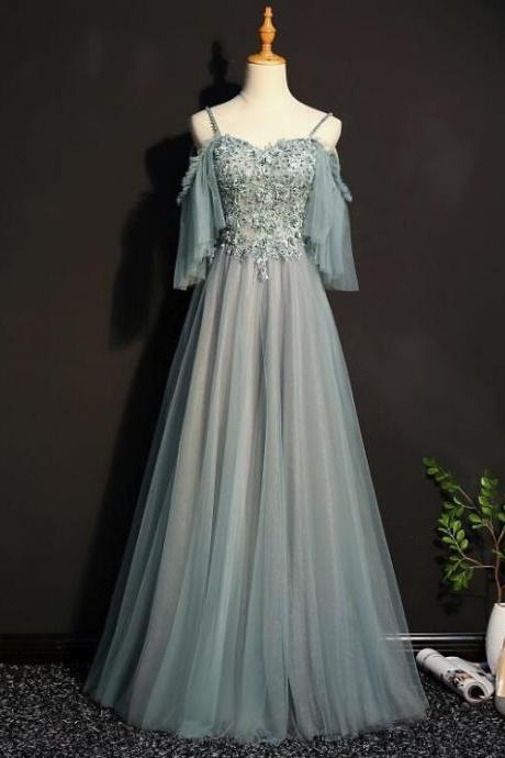 Charming Tulle Off Shoulder A-line Party Dress, Elegant Evening Dress