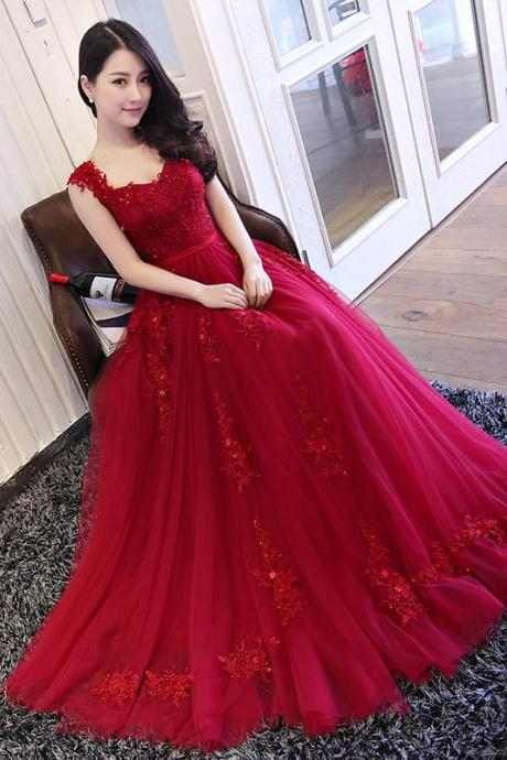 Beautiful Wine Red Off Shoulder Senior Prom Dresses, Red Formal Gowns 2019