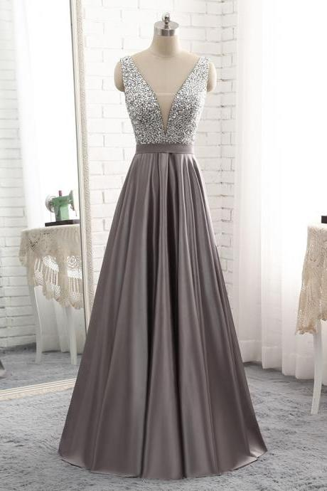 Beautiful Grey Satin and Beaded Long Prom Dress 2019, Grey Evening Gowns 2019