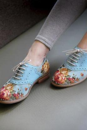 Floral Print Lace-Up Flat Oxford shoes