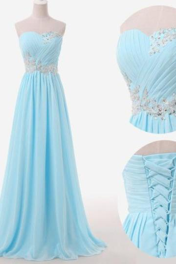 Simple Light Blue Chiffon Long Prom Dresses 2016, Long Prom Dresses,Bridesmaid Dresses, Evening Dresses, Formal Gowns
