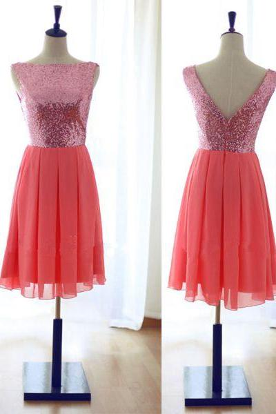 Lovely Short Coral Bridesmaid Dresses with Pink Sequins, Short Bridesmaid Dresses, Short Party Dresses