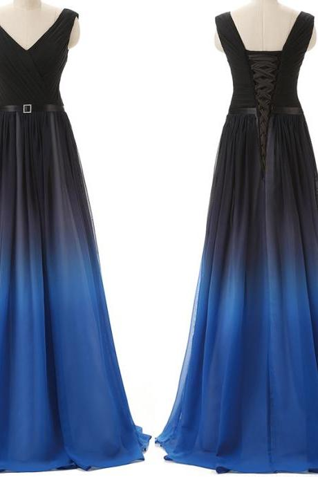 Lovely Black and Blue Handmade Gradient Prom Dresses 2016, Prom Dresses, Long Prom Dresses