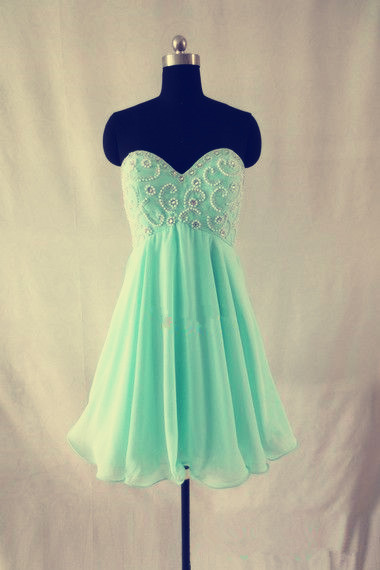 Lovely Handmade Short Mint Beaded Prom Dresses, Graduation Dresses 2016, Homecoming Dresses