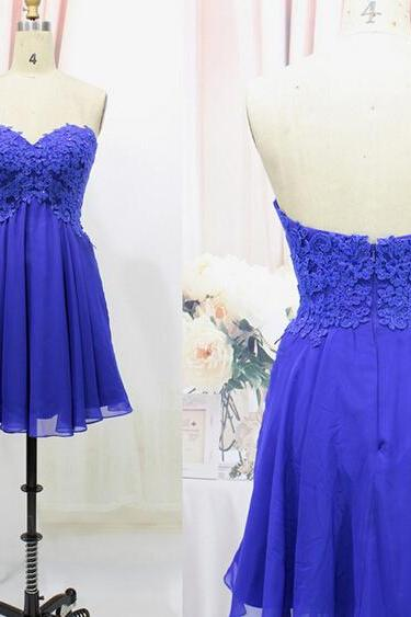 Lovely Short Handmade Blue Prom Dress with Lace Applique, Short Prom Dresses, Blue Prom Dresses