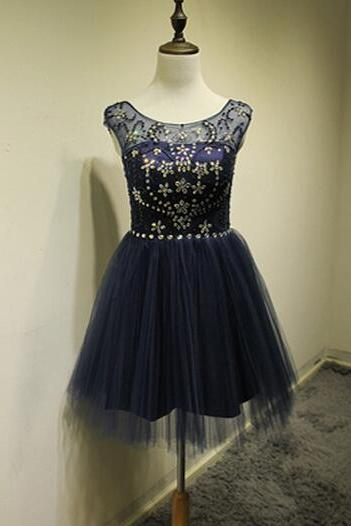 Cute Navy Blue Short Tulle Prom Dress with Beadings, Homecoming Dresses 2016, Short Prom Dresses 2016