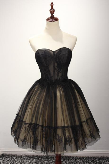 Cute Tulle Short Black Ball Gown Sweetheart Prom Dresses, Homecoming Dresses, Short Prom Dresses