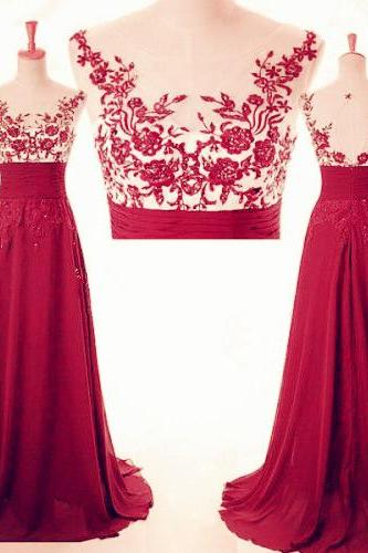 Beautiful Wine Red A-line Chiffon Long Formal Dress with Lace Applique, Light Wine Red Party Gowns, Evening Dresses