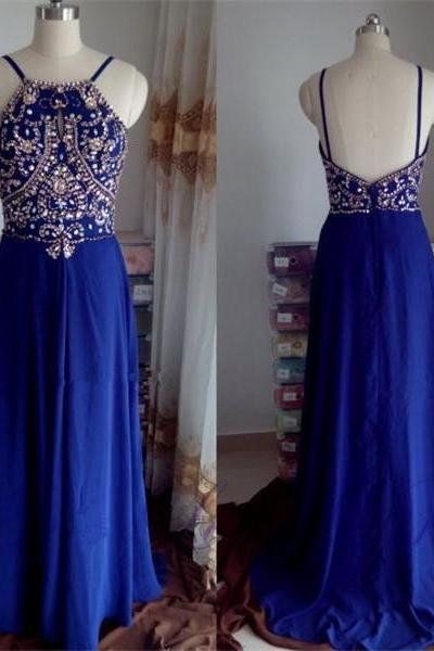 Pretty Blue Backless Beaded Long Party Dresses, Chiffon Long Prom Dresses, Straps Prom Dress 2017