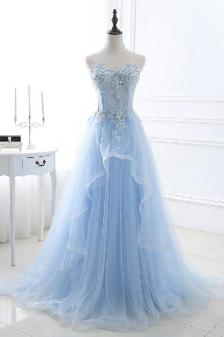 Gorgeous Light Blue Sweetheart Prom Gowns, Lace and Tulle Beaded Party Dresses, Evening Gowns, Sweet 16 Formal Dresses