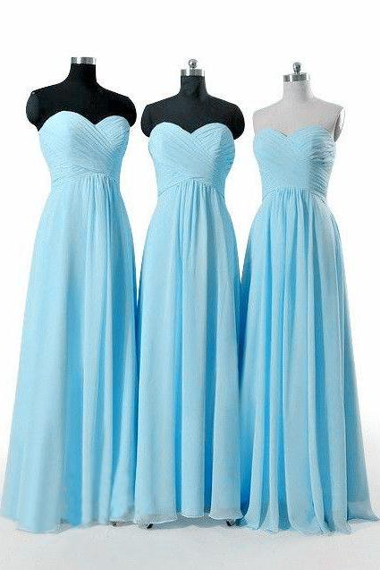 Charming Simple Sweetheart Light Blue Floor Length Bridesmaid Dresses, Bridesmaid Dresses 2017, Light Blue Party Dresses