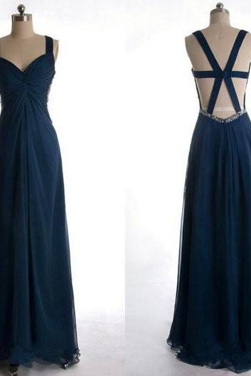 Long Navy Blue Chiffon Party Dresses, Prom Dress 2017, Navy Blue Wedding Party Dresses 2017