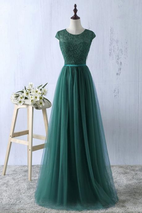 Elegant Dark Green Tulle and Lace top Round Neck Floor Length evening dresses ,simple formal dress, Dark Green Formal Gowns