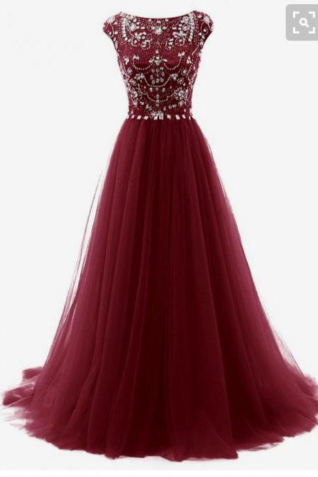 Charming Tulle Wine Red Beaded Prom Gowns, Long Party Gowns, Burgundy Formal Dresses