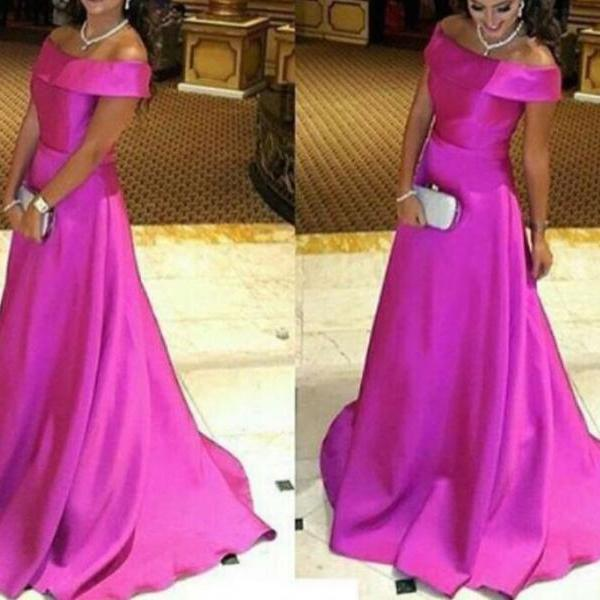 Gorgeous Satin Rose-Red Off Shoulder Long Evening Gowns, Long Prom Dresses, Simple off the shoulder Pink Evening Gown