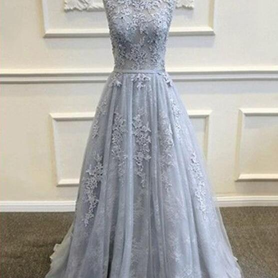 Grey Tull Party Gowns, Long Formal Grey Lace Backless Gowns, Grey Prom Dresses