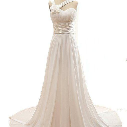 Elegant Ivory Chiffon Long Party Gowns, Chiffon Prom Dresses, Bridesmaid Dresses