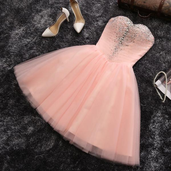 Pink Tulle Homecoming Dresses, Homecoming Dresses,Short Homecoming Dresses, Prom Dresses, Juniors Homecoming Dresses