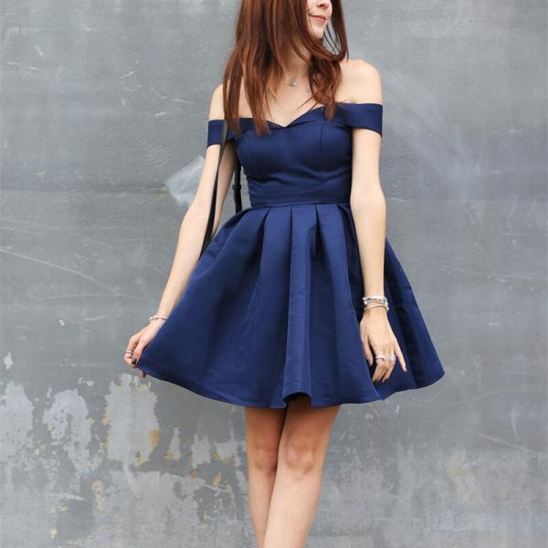 Satin Off Shoulder Knee Length Homecoming Dresses, Navy Blue Short Prom Dresses, Homecoming Dresses 2017