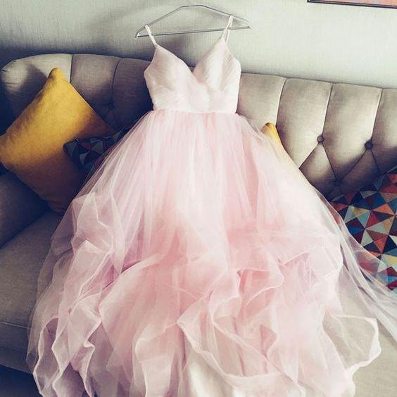 Lovely Soft Pink Sweetheart Straps Prom Gowns, Ball Gowns, Sweet Formal Dresses