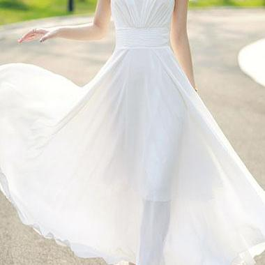 Beautiful White Chiffon Maxi Summer Dresses, Women Dresses, White Summer Dresses