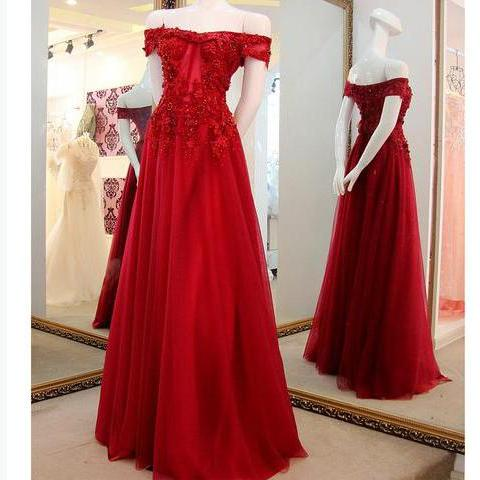 Off the Shoulder Prom Gown 2018,Applique Lace Long Prom Dresses,Tulle Party Dresses,Dark Red Formal Dresses