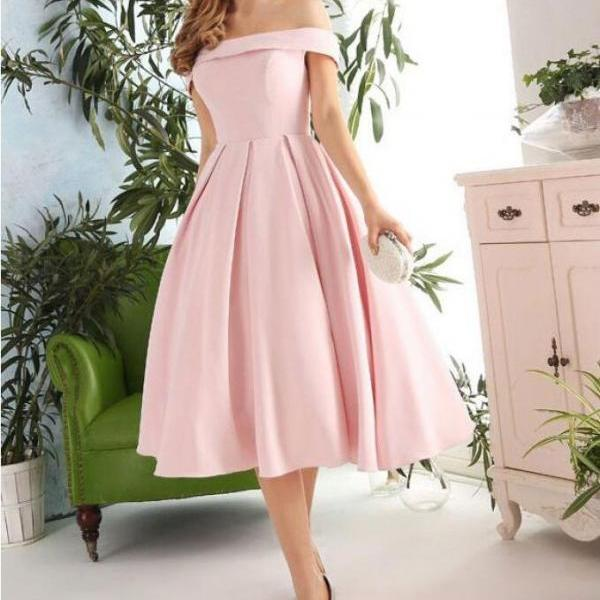 Pink Off Shoulder Tea Length Vintage Formal Dress, Short Prom Dress, Short Evening Dress, Simple Pink Formal Dresses