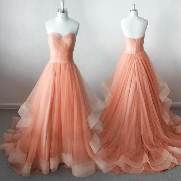 Pearl Pink Tulle Gowns, Gorgeous Prom Dresses 2018, Sweetheart Floor Length Sweet 16 Party Dresses