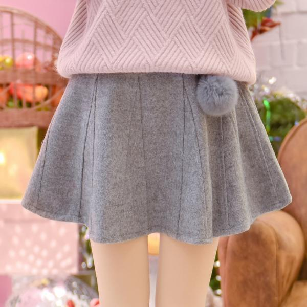 Lovely Teen Winter Fluffy Ball Woolen Umbrella Skirt, Cute Skirts, Women Skirt