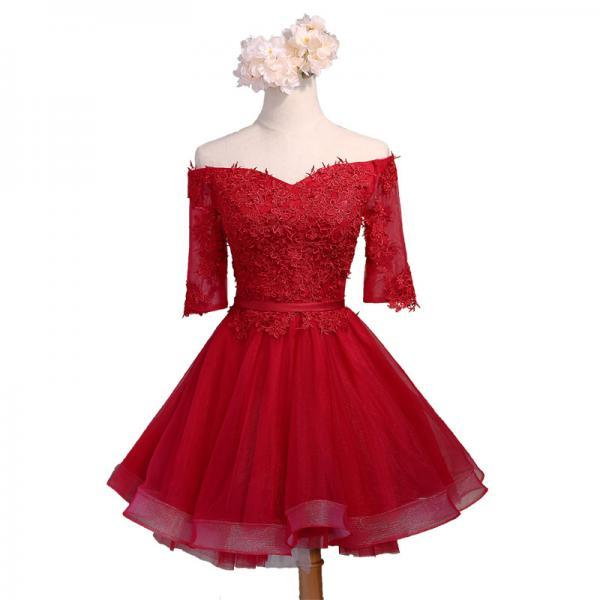 Red Lace Appliques Off-The-Shoulder Half Sleeves Knee Length Tulle Ruffled Skater Homecoming Dress Featuring Lace-Up Back