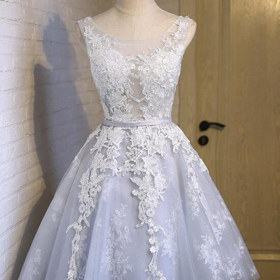 Pretty Grey Lace Short Party Dress, Knee Length Formal Dress, Lace and Tulle Junior Prom Dress