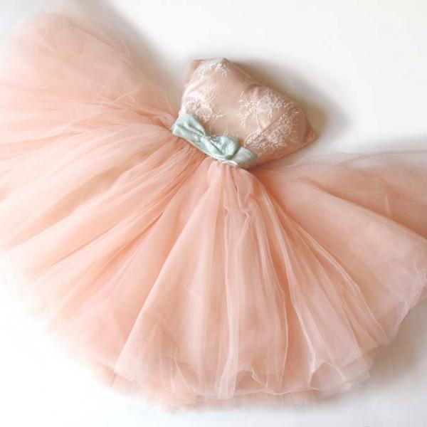 Light Pink Tulle with Lace Short Princess Party Dress,Pearl Pink Formal Dress, Homecoming Dress