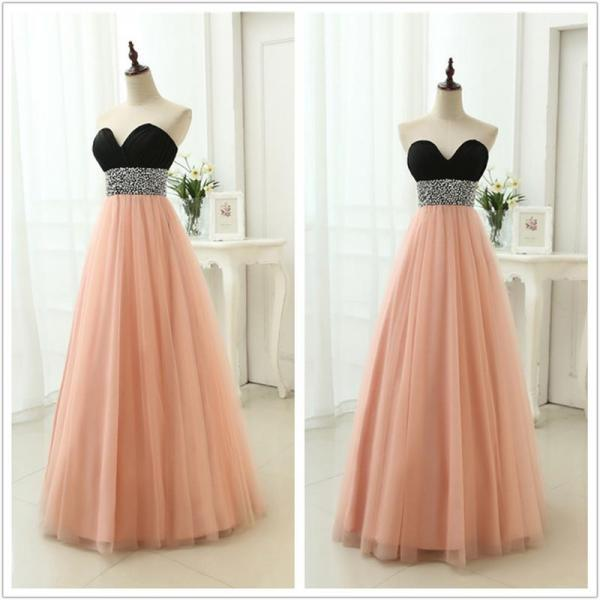 Pearl Pink Tulle Sweetheart Beaded Floor Length Party Dress 2019, Long Formal Dress 2019