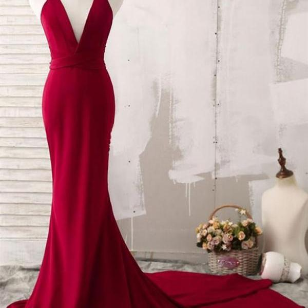 Beautiful Red Mermaid Long Cross Back Party Dress 2019, Beautiful Red Evening Gown