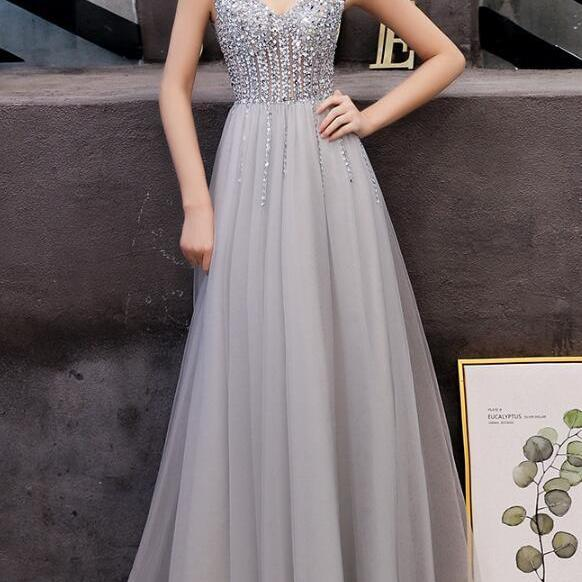 Grey Tulle and Beaded V-neckline Prom Dress, Beautiful Handmade Formal Gown 2019