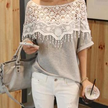 Sweet Lace Cutout Shirt Women Handmade Crochet Cape Collar Batwing Sleeve T-shirt