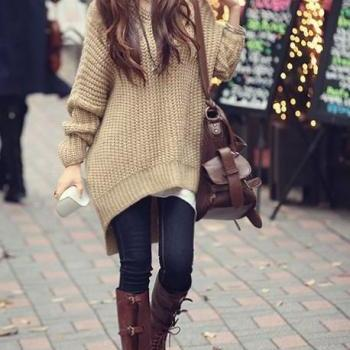 Fashionable Loose Apricot Sweater, Loose Autumn Sweater, Women Autumn Sweaters 2015