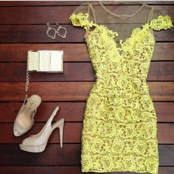 Sexy Hollow 2014 Lace Yellow Dress, Sexy Slim Lace Dress 2014, Lace Dress