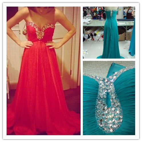 High Quality Gorgeous Handmade A-line Chiffon Sweetheart Prom Dress with Rehinstones, Prom Dresses 2015, Prom Gown, Formal Dresses