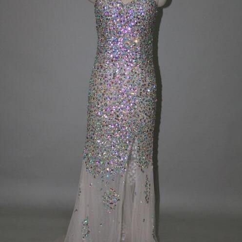 Sparkly High Quality Sweetheart Sweep Train Prom Dress with Rehinstones, Handmade Rehinstones Prom Dress, Prom 2015