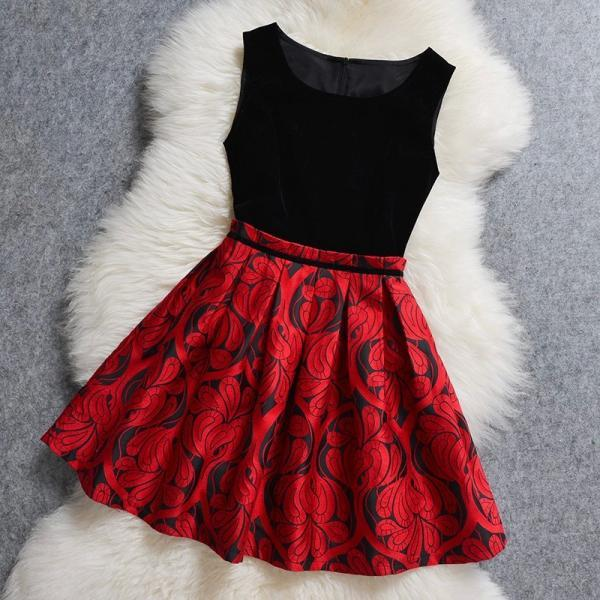 Lovely Black and Red Flower Print Short Dresses, Cute Short Party Dresses, Party Dresses, Women Dresses